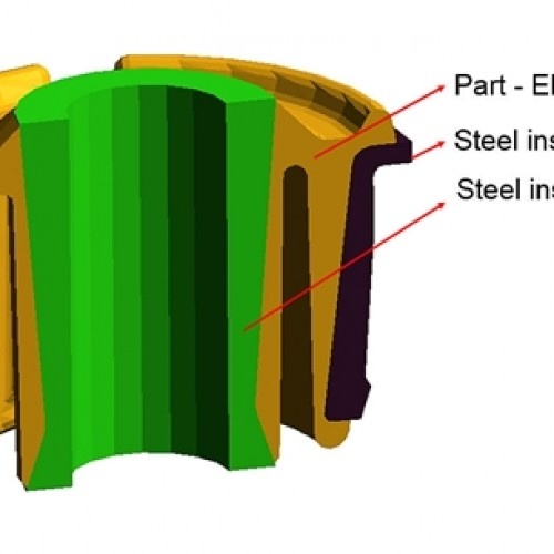 Figure 1 – An elastomer part was to be molded with two inserts  (c) SIGMA Engineering GmbH